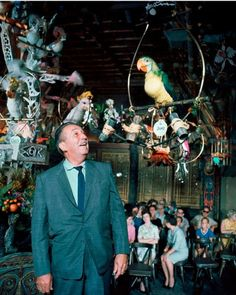 Walt Disney at the Tiki birds in DisneyWorld.