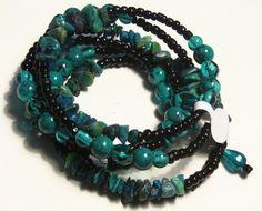 Chrysocolla Gemstone Wrap Bracelet  | SunCreations - Jewelry on ArtFire