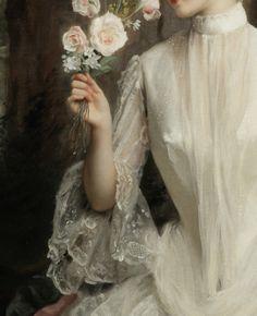 """Detalle de """"Un elegante bouquet"""" (1886). Gustave Jean Jacquet (1846-1909)."""