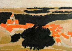 Adjugé 9 000 euros par Labarbe à Toulouse le 26 avril 2014 -  André BRASILIER (né en 1929). Village en Tardenois. Huile sur toile, signée en bas au milieu. 65 x 92 cm