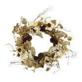 Found it at Wayfair - Burlap Hydrangea and Wood Rose Wreath