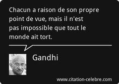 Chacun a raison de son propre point de vue, mais il n'est pas impossible que tout le monde ait tort. Gandhi.