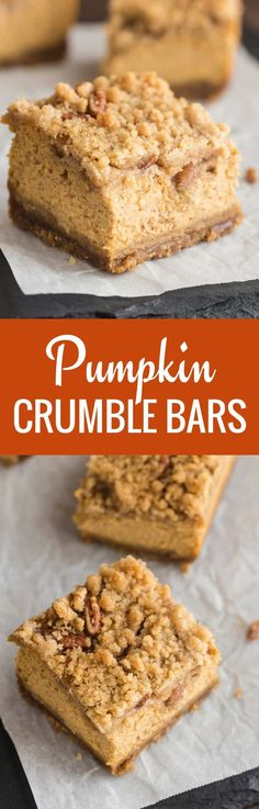 Delicious pumpkin crumble bars will complete your holiday spread! This recipe is perfect for Thanksgiving!--full recipe on bakedbyanintrovert.com #pumpkin #baking #desserts #ThanksgivingRecipes