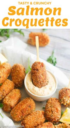 Salmon Croquettes – pan fried, protein-packed, bread crumbed rolls made with salmon and aromatics. It makes a quick and tasty appetizer , breakfast or dinner fix. Very budget-friendly and simple to make! Canned Salmon Recipes, Fish Recipes, Seafood Recipes, Cooking Recipes, Leftover Salmon Recipes, Salmon Dishes, Fish Dishes, Seafood Dishes, Snacks