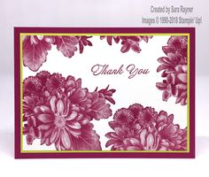 Thank you card using Heartfelt Blooms freebie SAB set from Stampin' Up!
