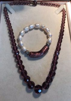Vintage Faceted Cranberry Glass Necklace and Pearl   Glass Stretch Bracelet