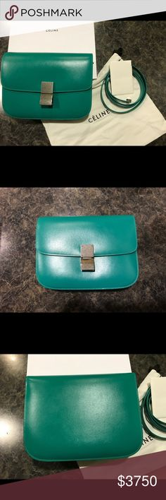 MEDIUM CLASSIC BOX BAG IN BLUE GREEN BOX CALFSKIN CÉLINE 2017 SS COLLECTION RARE AND 100% AUTHENTIC SHOULDER CARRY ADJUSTABLE AND REMOVABLE LEATHER STRAP WITH 45 CM (18 IN) DROP DOUBLE SQUARE BRASS CLOSURE INNER ZIPPED POCKET AND DOUBLE FLAT POCKETS 24 X 18 X 6 CM (9 X 7 X 2 IN) SILVER METAL HARDWARE	 100% CALFSKIN 100% NAPPA LAMBSKIN LINING BOUGHT IN JAPAN THIS SUMMER BRAND NEW WITH ORIGINAL BOX, LABEL AND DUSTBAG READY TO SHIP ANY TIME Celine Bags Crossbody Bags