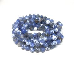 Blue Fire Agate Long Blue Stone Bead  Necklace Hand Knotted 60 inches long, Natural Crackle Agate White Blue Stone
