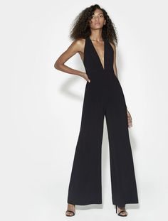 cae223f22ad Halston Heritage Sleeveless Halter Neck Jumpsuit With Strappy Back - Black  12 Black Halter Jumpsuit