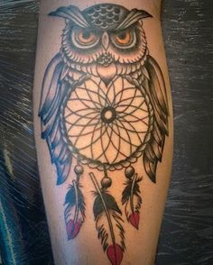 Resultado de imagen para tattoo buho con atrapasueños
