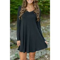 Black V Neck Long Sleeve Stretch Knit Trapeze Dress ($15) ❤ liked on Polyvore featuring dresses, black, kohl dresses, black day dress, trapeze dress, black dress and vneck dress