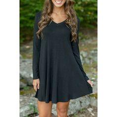 Black V Neck Long Sleeve Stretch Knit Trapeze Dress ($15) ❤ liked on Polyvore featuring dresses, black, kohl dresses, black day dress, trapeze dress, black dress and vneck dress