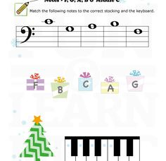 Easy note reading worksheet.  Bass clef F G A B and middle C.