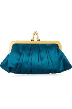 Christian Louboutin satin clutch. obsessed with the heel closure!