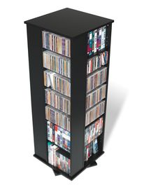 Prepac Black 4-Sided Spinning Tower