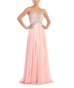 Look at this Royal Queen Blush & Silver Sequin Sweetheart Strapless Gown on #zulily today!