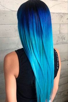 24 Fairy Blue Ombre Hair for Beautiful Girls - Hair Beauty Pretty Hair Color, Beautiful Hair Color, Hair Dye Colors, Ombre Hair Color, Blue Ombre, Dark Ombre, Best Hair Brush, Natural Hair Styles, Long Hair Styles