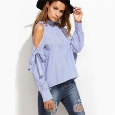 Ruffle Collar Bow Sleeve Blouse