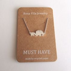 Mom and Children Elephant Necklace Baby Elephant Pendant Necklace Silver Tone Thai Elephant - Rosa Vila Jewelry  - 1
