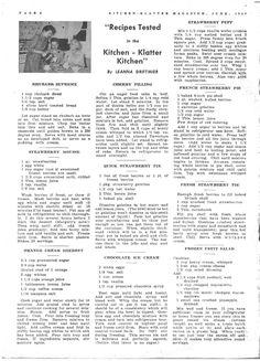 Kitchen Klatter Magazine, June 1950 - Rhubarb Supreme, Strawberry Mousse, Orange Cream Sherbet, Cherry Filling, Quick Strawberry Pie, Chocolate Ice Cream, Strawberry Puff, French Strawberry Pie, Fresh Strawberry Pie, Frozen Fruit Salad