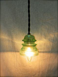 Repurposed Glass Insulator Pendant Light, Aqua Hemingray, Vintage
