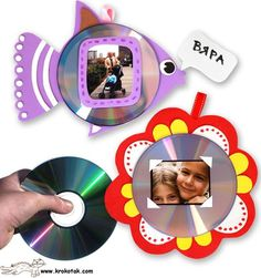 cd picture frames- many patterns Fathers Day Photo, Fathers Day Crafts, Happy Fathers Day, Cd Crafts, Recycled Crafts, Fall Crafts, Photo Frames For Kids, Picture Frames, Diy For Kids