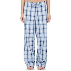 Steven Alan Piped Pajama Pants ($135) ❤ liked on Polyvore featuring intimates, sleepwear, pajamas, blue, steven alan, cotton pajamas, plaid pajamas, plaid pj pants and blue pajamas