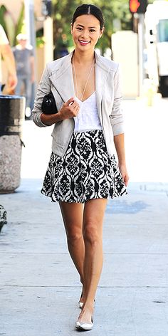 White Leather, Patterned Graphic Skirt, Flats