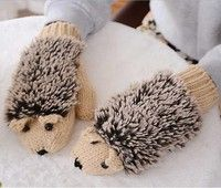 Wish | Refers to all the cartoon hedgehog gloves Han edition lovely winter winter gloves female girl knitted gloves