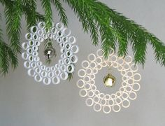 Quilled Christmas Ornaments, Gold and Silver, Circles with Jingle Bells