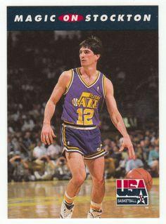 Magic Johnson on John Stockton   110 1992 Skybox USA Team Basketball b32163394