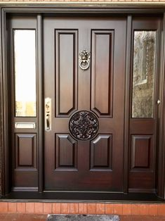 Gorgeous with Regency stain; Call or come into Amberwood's outstanding today for your beautiful proudly ships - Call today for shipping details! Wood Front Doors, Wooden Main Door Design, Door Glass Design, Door Design Interior, House Main Door Design