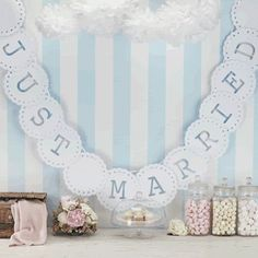 Just Married Ivory Wedding Bunting //Vintage Lace// Wedding Banner // Gold Wedding //White Wedding // Wedding Reception //Bride & Groom Lace Bunting, Wedding Bunting, Party Bunting, Wedding Table, Our Wedding, Wedding Venues, Wedding Decorations, Vintage Bunting, Hanging Decorations