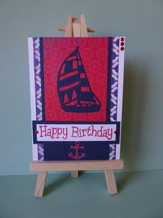Red and blue yacht birthday card