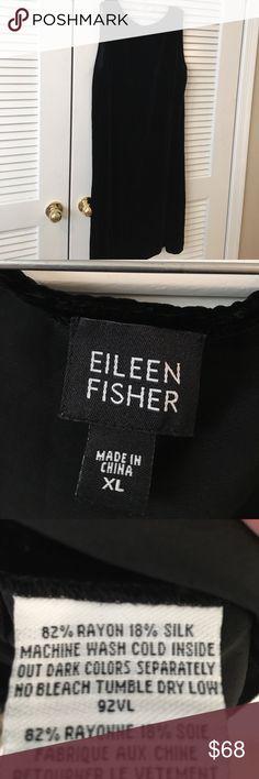 Eileen Fisher Black Velvet Dress XL So classic Eileen Fisher Dresses Midi