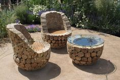 Recycled log garden furniture