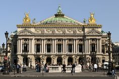 The Opera House in Paris is an ornate 19th century building decorated with much sculptured detail