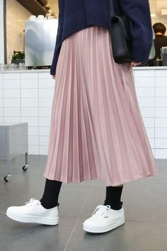 Gloring Pleated Long Skirt | Korean Fashion
