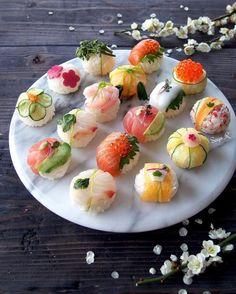 Beautiful & elegant assorted sushi platter