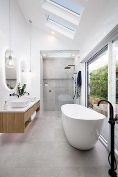 Modern Luxury Bathroom, Modern Master Bathroom, Bathroom Design Luxury, Luxurious Bathrooms, Skylight Bathroom, Ensuite Bathrooms, Skylight Design, Bathroom Design Inspiration, Toilet Design