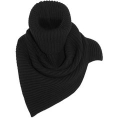 Stella McCartney Ribbed wool scarf (25.800 RUB) ❤ liked on Polyvore featuring accessories, scarves, black, black scarves, black shawl, wool shawl, wool scarves et black bandana