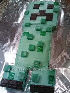 Cool Homemade Minecraft Creeper Birthday Cake ... This website is the Pinterest of birthday cakes