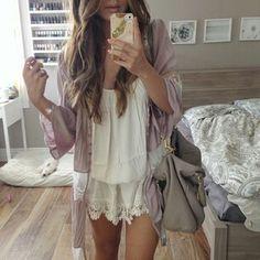 Flowy dress/tunic under flowy cardigan
