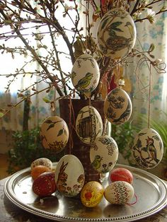 """To keep your eggs to use every year, blow the egg out, wash & dry, then paint with regular acrylic paints. You could paint them to say """"spring"""" with birds, nests, trees, and flowers, so you could leave them up all season… not just for Easter."""