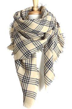 Classic Plaid Blanket Scarf Ivory/Navy - Blush