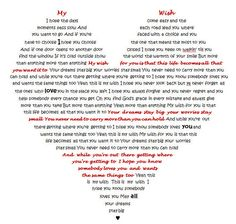 I took the song My Wish by Rascal Flatts and typed it into the shape of a heart. Will frame soon