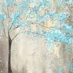Blue And White Painting - Tree Of Blues by Lourry Legarde