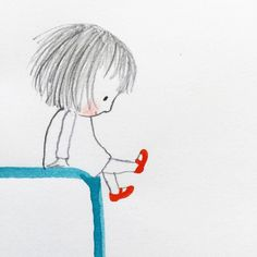Reminds me of Emily when she was little. She loved her red shoes❣️ Doodle Drawings, Art Drawings Sketches, Doodle Art, Easy Drawings, Art Et Illustration, Illustrations, Cute Cartoon Wallpapers, Whimsical Art, Cartoon Art
