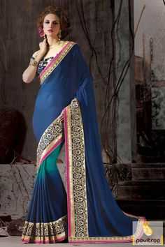 Costume up with attractive blue and beige party wear saree with discount offer prices. The fashionable georgette and silk saree online is beautified with designer blouse. Diwali Special Discount Offer:  5% OFF FOR Buy 1 Product 10% OFF FOR Buy 2 Product 15% OFF FOR Buy 3 Product or more #saree, #designersaree, #partywearsaree, #festivalsaree, #embroiderysaree, #designerpartysaree http://www.pavitraa.in/store/party-wear-saree/ callus: +91-7698234040