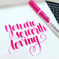 A bit of lettering before bed. :) #ecolinebrushpen #rhodiadotpad #kwdesign365quotes